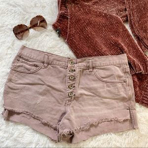 Free People light purple distressed jean shorts 31